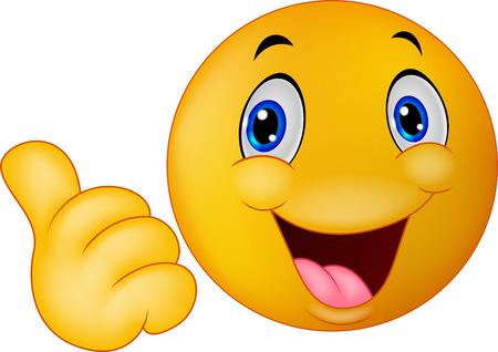 Счастливые улыбающиеся смайлик мультфильм, давая пальцы вверх