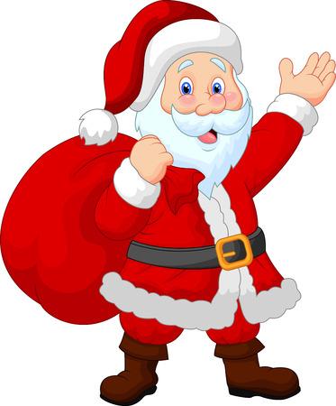 Happy Santa cartoon witch sack Vector