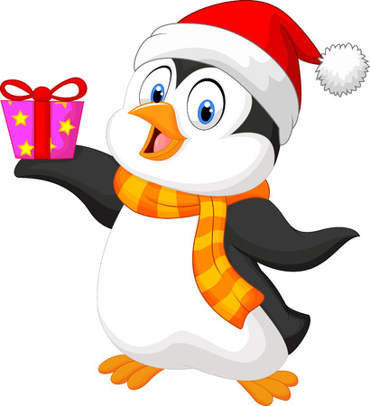 Cute penguin cartoon holding present