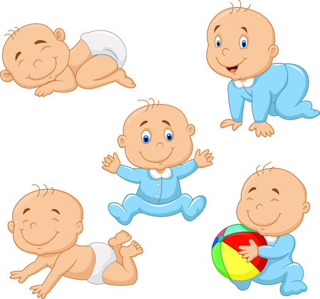 crawling: Cartoon collection baby boy Illustration