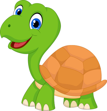 tortuga caricatura: Historieta linda tortuga verde