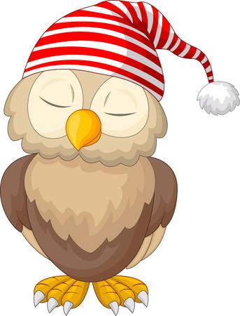 cartoon owl: Cartoon owl sleeping