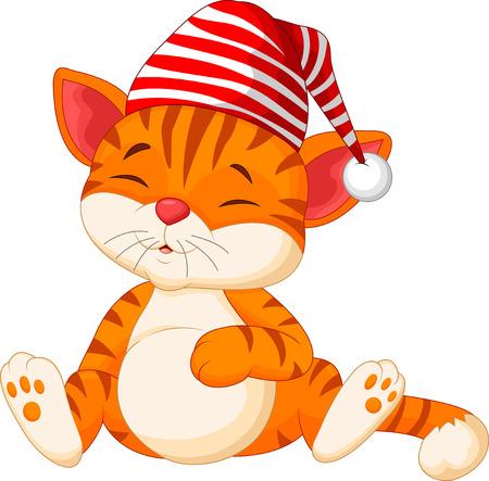 animal: Cartoon cat sleeping Illustration