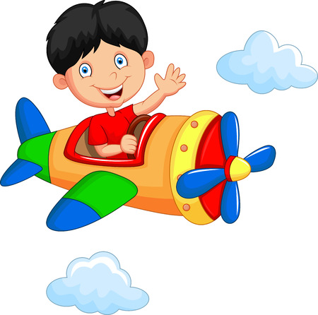 fly cartoon: Cartoon boy riding airplane Illustration