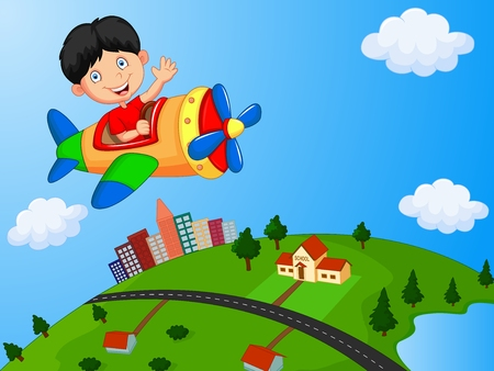 Cartoon boy riding airplane Illustration