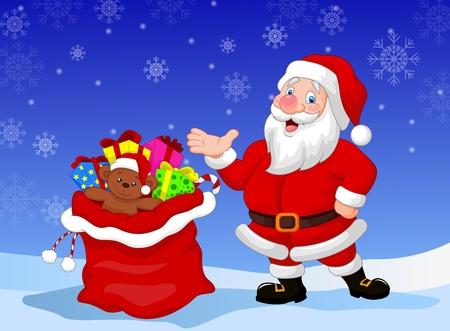 santa clause: Happy Santa Clause cartoon with gift waving hand