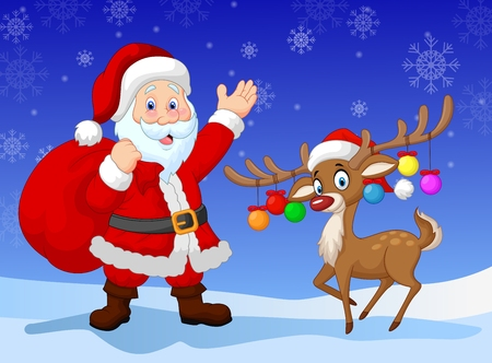clause: Cartoon Santa clause with deer