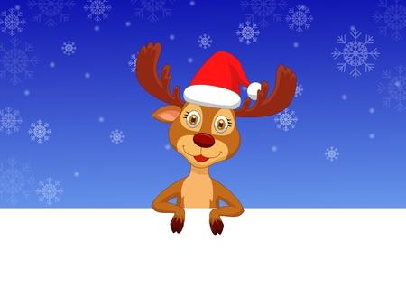 Cute deer cartoon with blank sign Vector