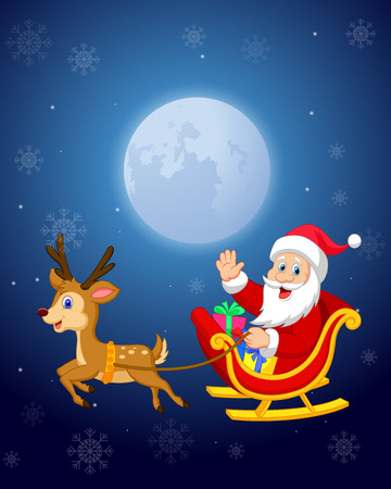 pulled: Cartoon Santa in his Christmas sled being pulled by reindeer Illustration