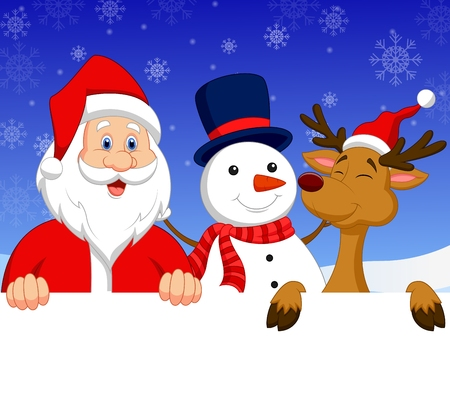 Cartoon Santa Claus, nosed reindeer and snowman with blank sign