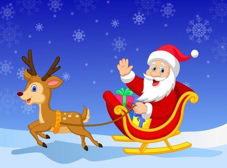 running reindeer: Cartoon Santa in his Christmas sled being pulled by reindeer Illustration