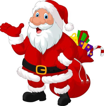 자루와 함께 행복한 산타 만화 일러스트