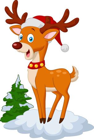 Sweet Christmas deer cartoon