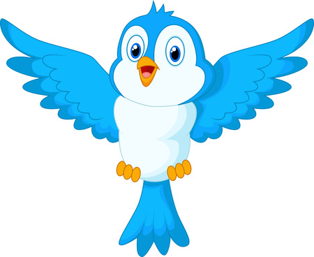 bird wings: Cute cartoon blue bird flying