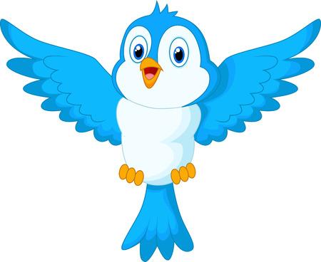 Nette Karikatur blaue Vogel fliegen Standard-Bild - 34378553