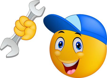 carita feliz caricatura: Emoticon Reparador de dibujos animados sonriente