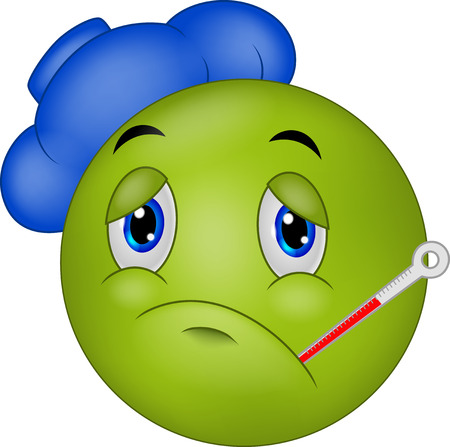 Sick emoticon smiley cartoon Illustration