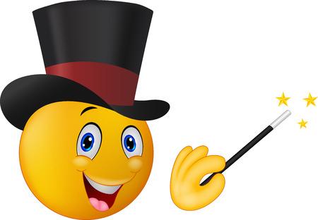 smiley face cartoon: Mago de dibujos animados en sombrero superior con la varita m�gica que muestra truco