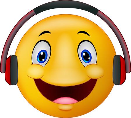 ear phones: Cartoon Emoticon with headphones