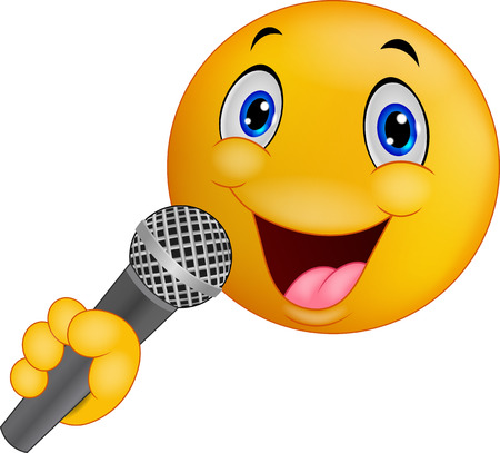 singer with microphone: Cartoon Emoticon smiley singing