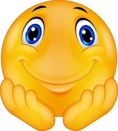 Émoticône penser caricature smiley Vecteurs