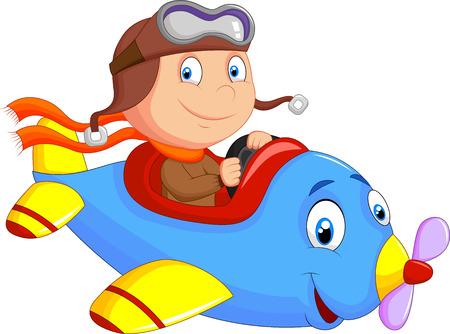 航空機: 飛行機営業少しの少年漫画  イラスト・ベクター素材