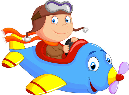 Little Boy cartoon Operating a Plane