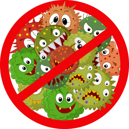 micro organism: Stop virus cartoon Illustration