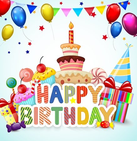 Birthday background with birthday cake cartoon Illustration