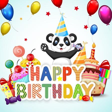 personas saludandose: Fondo de cumpleaños con feliz panda de la historieta