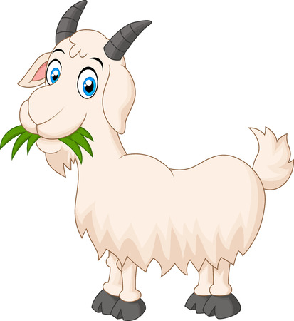 Cartoon chèvre mangeant de l'herbe