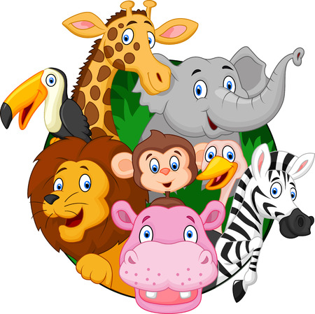 woods: Cartoon safari animals Illustration