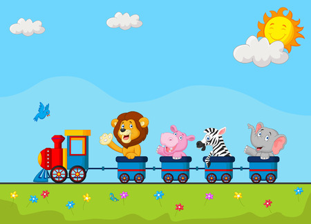 tren caricatura: Dibujo animado lindo del animal en el tren Vectores