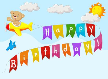 Sfondo di compleanno con l'orso del fumetto su piano