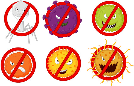 antiviral: Stop virus cartoon Illustration