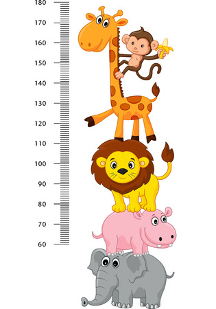 cute giraffe: Meter wall with funny Cheerful animals cartoon