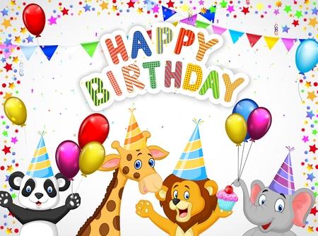 Fondo de cumpleaños de dibujos animados Ilustración de vector