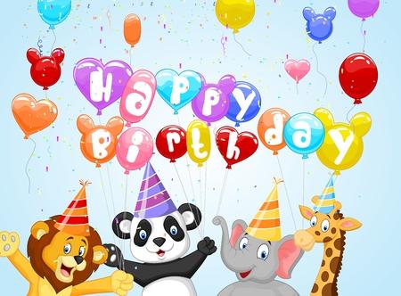 animales safari: Fondo de cumpleaños de dibujos animados
