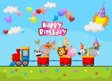 birthday train: Birthday background with happy animal cartoon on train