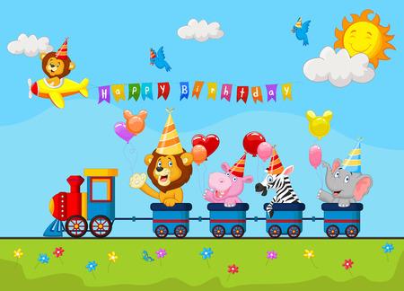 hipopotamo caricatura: Fondo del cumplea�os con la historieta animal feliz en el tren Vectores