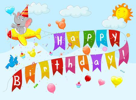 Birthday background with elephant cartoon on plane Vector