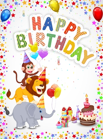 Fondo de cumpleaños con los animales felices de dibujos animados