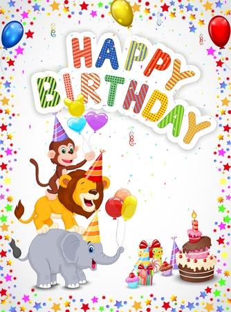 globos de cumpleaños: Fondo de cumpleaños con los animales felices de dibujos animados Vectores
