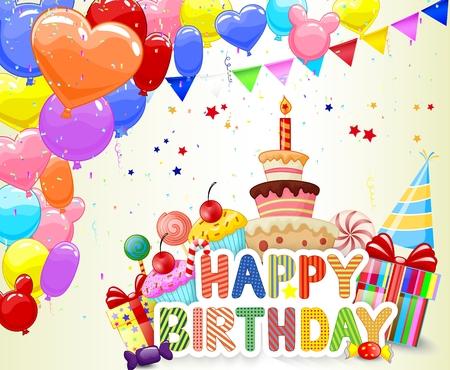 birthday hat: Birthday background with cartoon colorful balloon and birthday cake