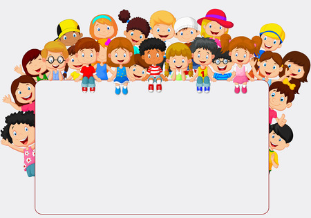 children group: Crowd children cartoon with blank sign Illustration