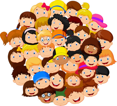 Crowd of children cartoon