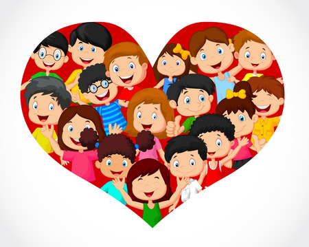 day nursery: Crowd of children cartoon in heart formation