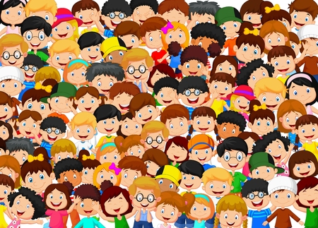 small group: Crowd of children cartoon