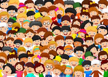 muchas personas: Multitud de ni�os de dibujos animados Vectores