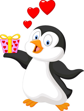 Cartoon penguin holding gift Vector